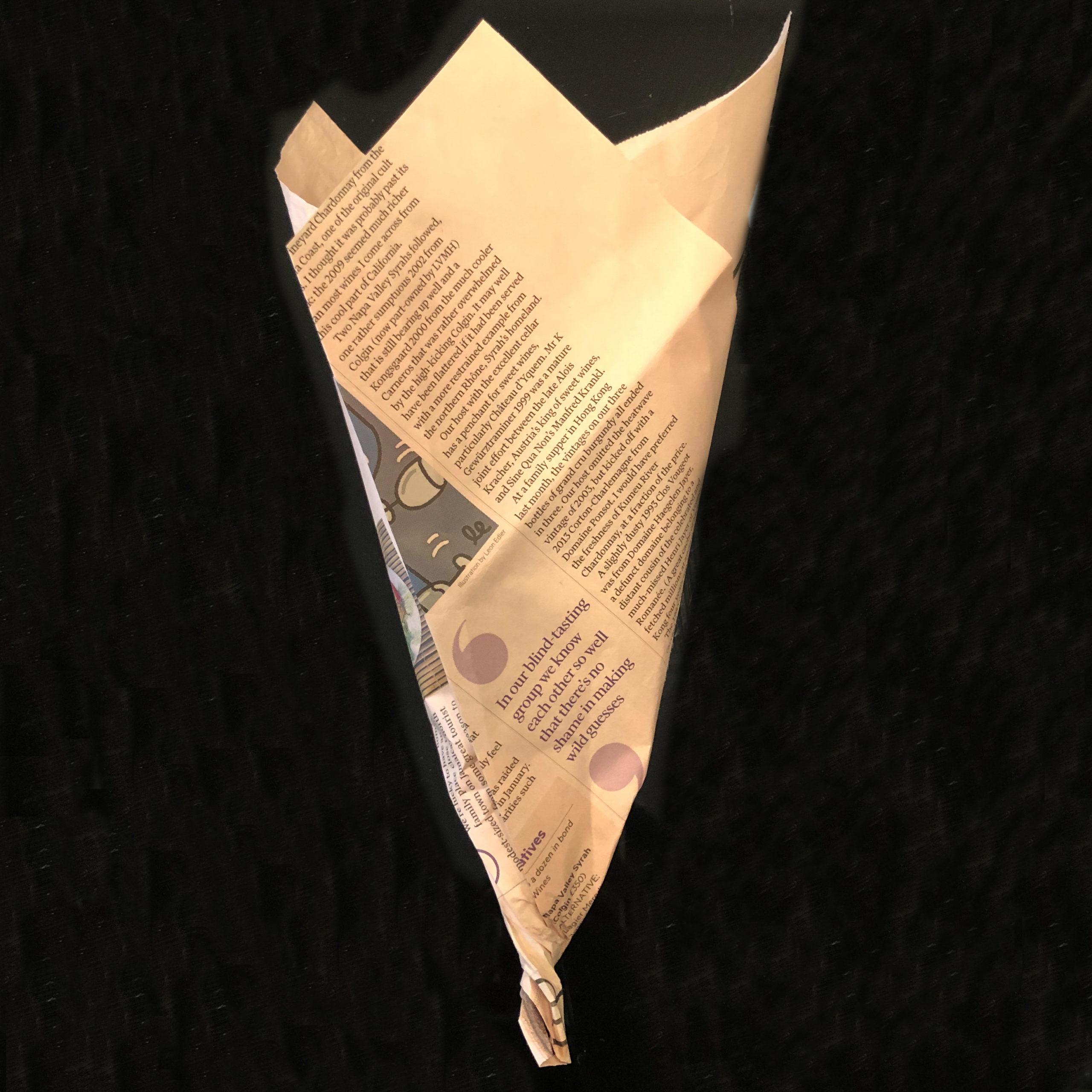 包装紙の根元をねじったところを撮影した画像