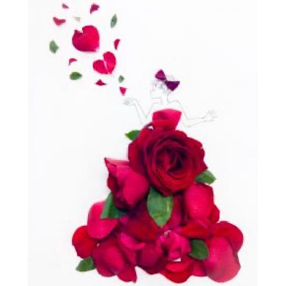 ESSEonlineから引用した葉菜桜花子さんの花びらアートの画像