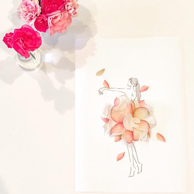 バラの花びらで作った花びらアートを私が撮影した写真