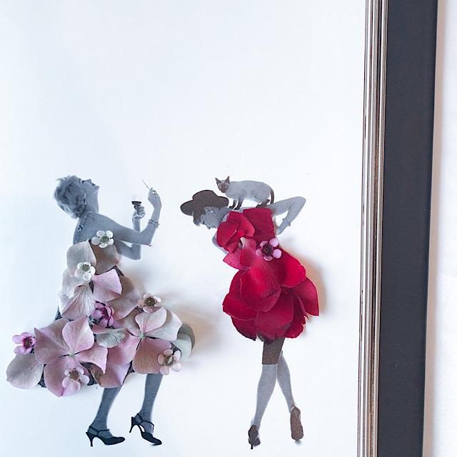 私が自宅で作ったアジザイ、ワックスフラワー、バラの花びらアートを撮影した写真
