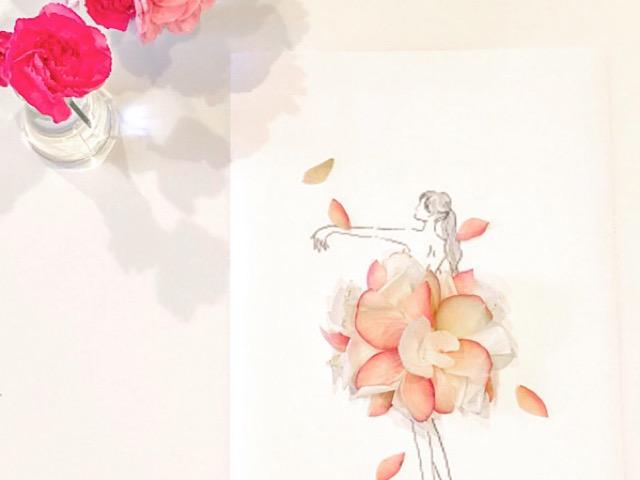 バラの花びらで作った花びらアートを撮影した画像
